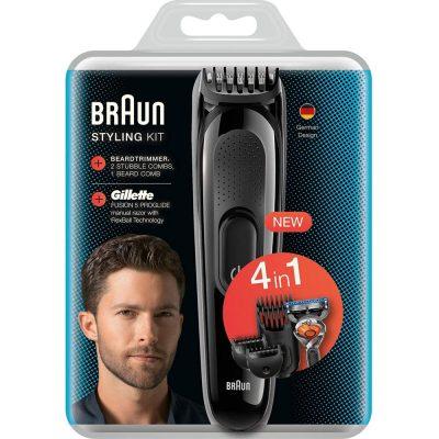 Tông Đơ Cắt Tóc Cạo Râu Braun Styling Kit SK3000 4 in 1