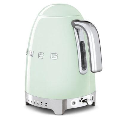 Ấm đun nước SMEG KLF04PGEU màu xanh lá pastel với thiết kế các nút sáng nhiệt độ trực quan