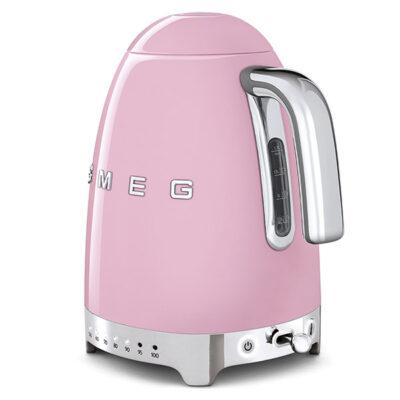 Ấm đun nước SMEG KLF04PKEU màu hồng với thiết kế các nút sáng trực quan nhưng không kém phần sang trọng