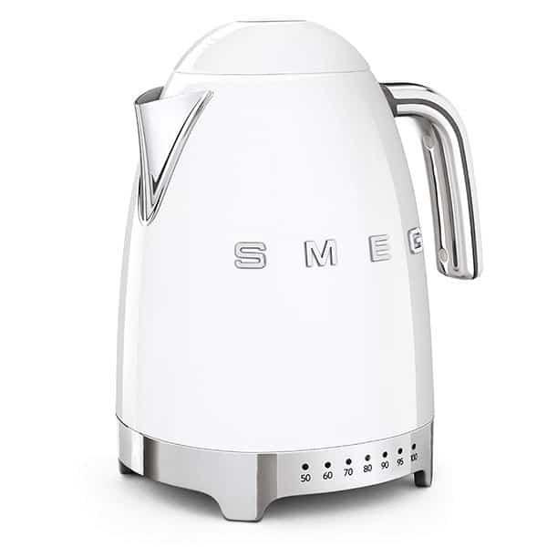 Ấm đun nước SMEG KLF04WHEU màu trắng với thiết kế các nút sáng nhiệt độ trực quan