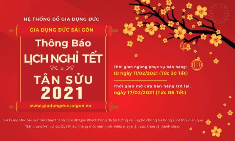Gia Dụng Đức Sài Gòn - Thông báo lịch nghỉ tết Nguyên Đán 2021 trên toàn hệ thống