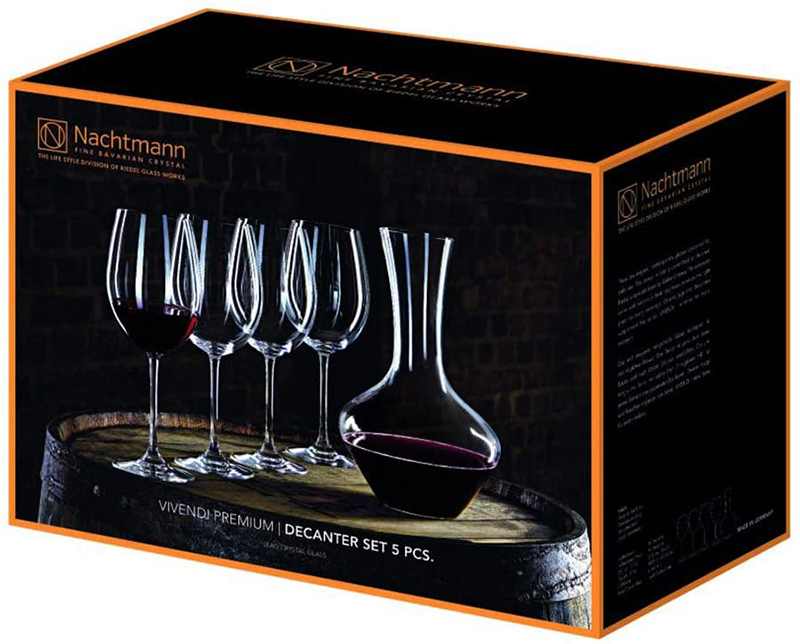 Set Ly Uống Rượu Vang Nachtmann 93605 Vivendi Premium DEKANTIERSET 1 Bình 4 ly