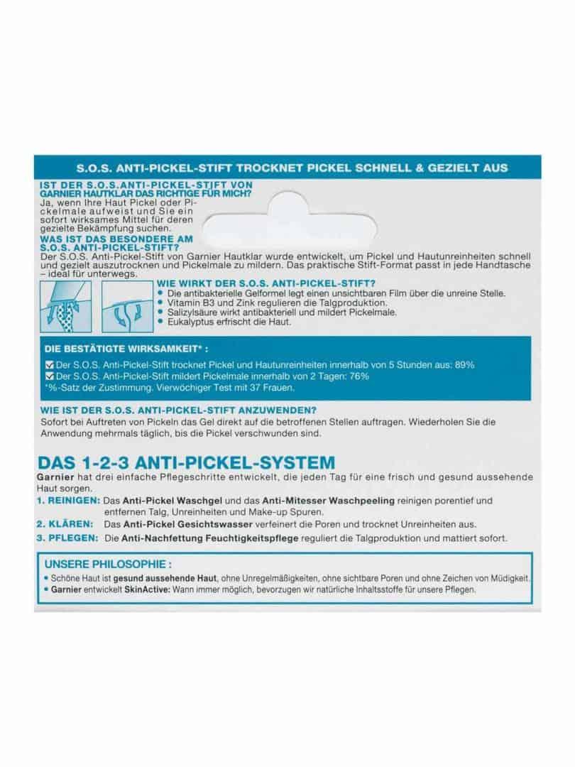 SOS Anti Pickel Stift Hautklar Anti Pickel 10ml Verpackung Rueckseite Garnier Deutschland gr Gia Dụng Đức Sài Gòn