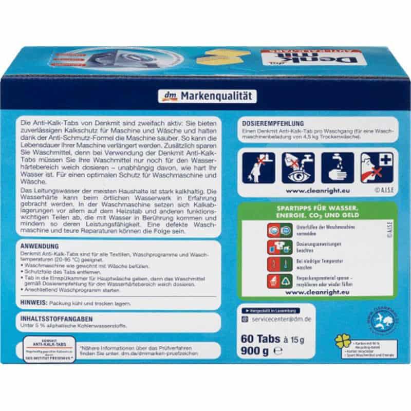 Viên Tẩy Lồng Giặt Denkmit Anti-Kalk 60 Viên